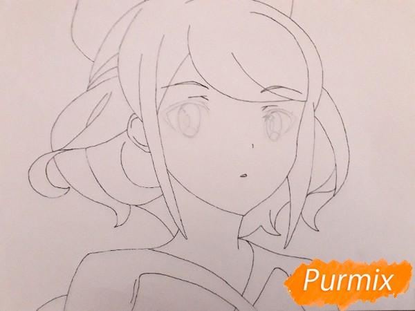 Рисуем Сацуки Усуи из аниме Плеяда семи звёзд карандашами - шаг 5