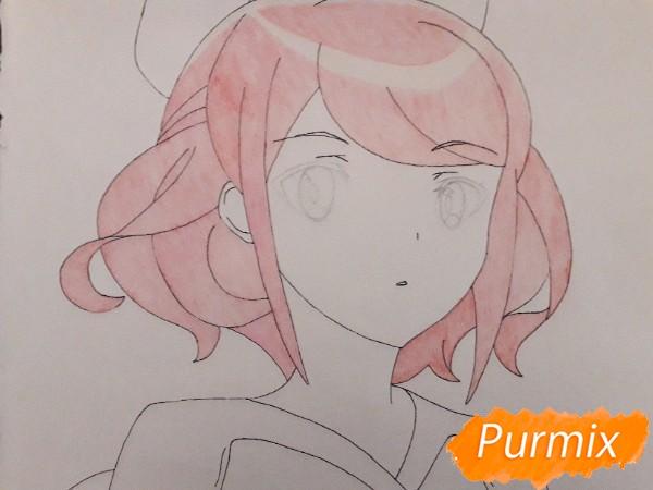 Рисуем Сацуки Усуи из аниме Плеяда семи звёзд карандашами - шаг 6