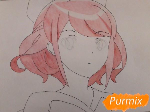 Рисуем Сацуки Усуи из аниме Плеяда семи звёзд карандашами - шаг 7