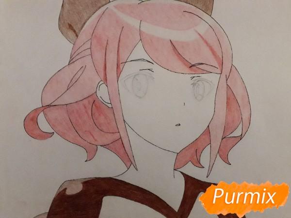 Рисуем Сацуки Усуи из аниме Плеяда семи звёзд карандашами - шаг 8