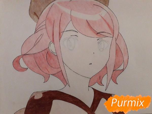 Рисуем Сацуки Усуи из аниме Плеяда семи звёзд карандашами - шаг 9