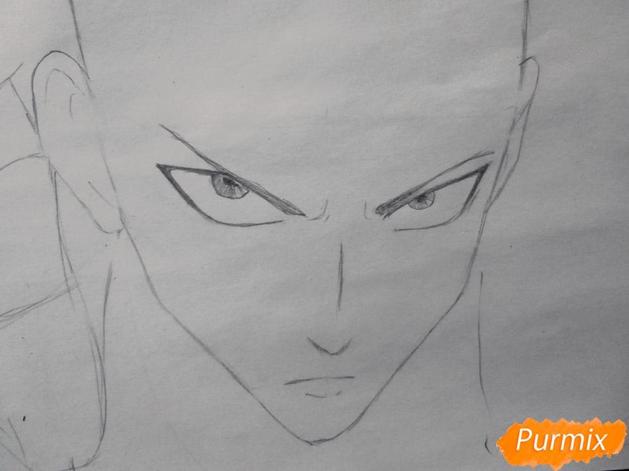 Рисуем Сайтаму главного героя манги/аниме Ванпачмен - шаг 3