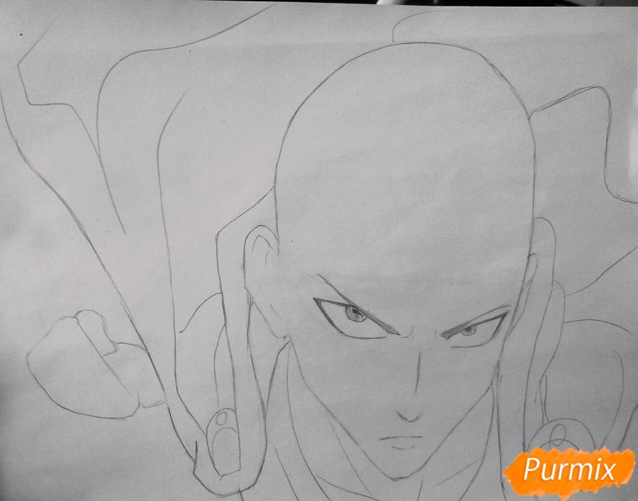 Рисуем Сайтаму главного героя манги/аниме Ванпачмен - шаг 4