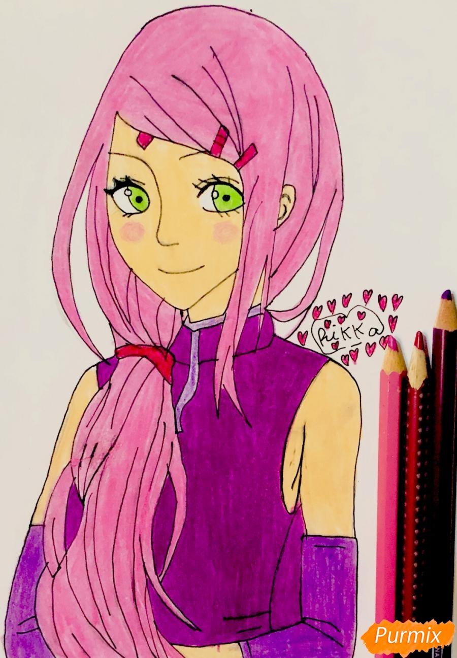 Рисуем Сакуру из Наруто цветными карандашами - шаг 10