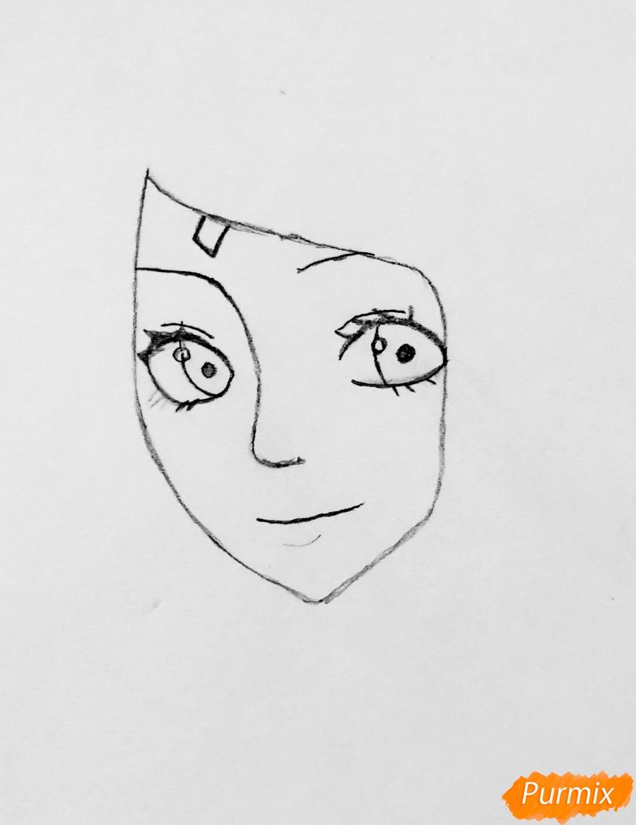 Рисуем Сакуру из Наруто цветными карандашами - шаг 2