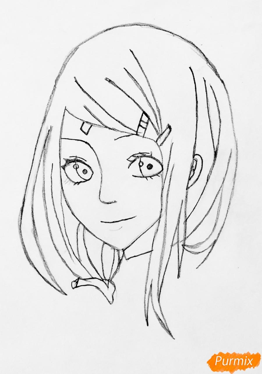 Рисуем Сакуру из Наруто цветными карандашами - шаг 3