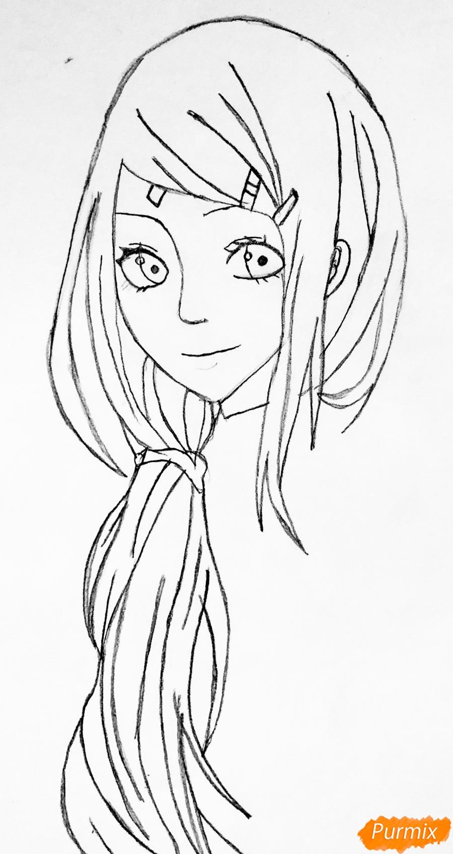 Рисуем Сакуру из Наруто цветными карандашами - шаг 4