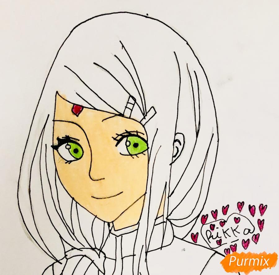 Рисуем Сакуру из Наруто цветными карандашами - шаг 7