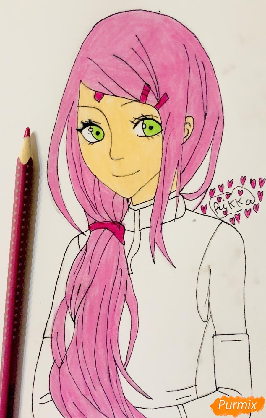 Рисуем Сакуру из Наруто цветными карандашами - шаг 8