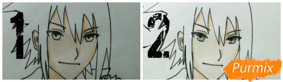 Рисуем Саскэ Утиха из аниме Наруто карандашами - шаг 11