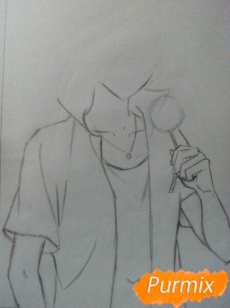 Рисуем Саскэ Утиха из аниме Наруто карандашами - шаг 4