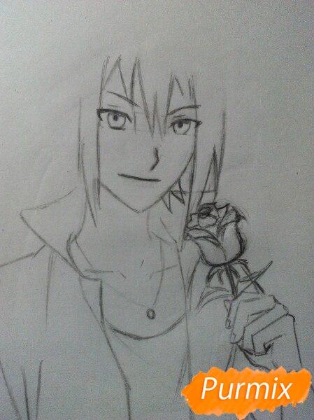 Рисуем Саскэ Утиха из аниме Наруто карандашами - шаг 7