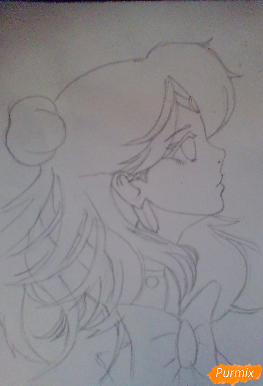 Рисуем Сейлор Плутон (Сэцуна Мэйо) из аниме Сейлор Мун - шаг 5