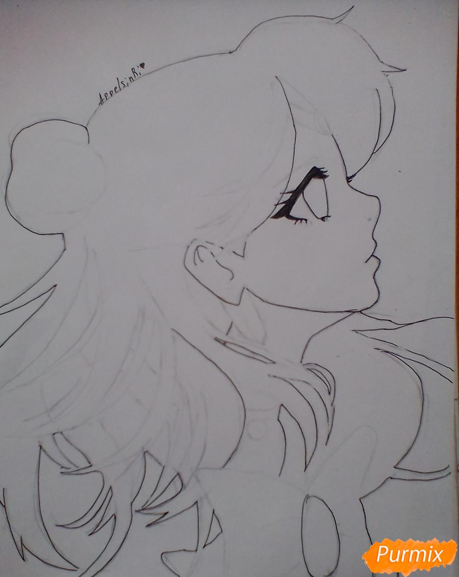 Рисуем Сейлор Плутон (Сэцуна Мэйо) из аниме Сейлор Мун - шаг 6