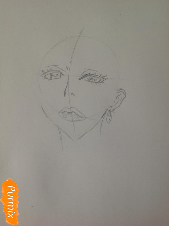 Рисуем шефа Макину из аниме Страна чудес смертников карандашами - шаг 2