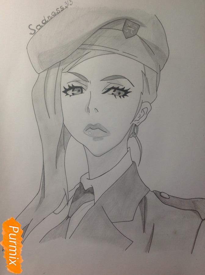 Рисуем шефа Макину из аниме Страна чудес смертников карандашами - шаг 7