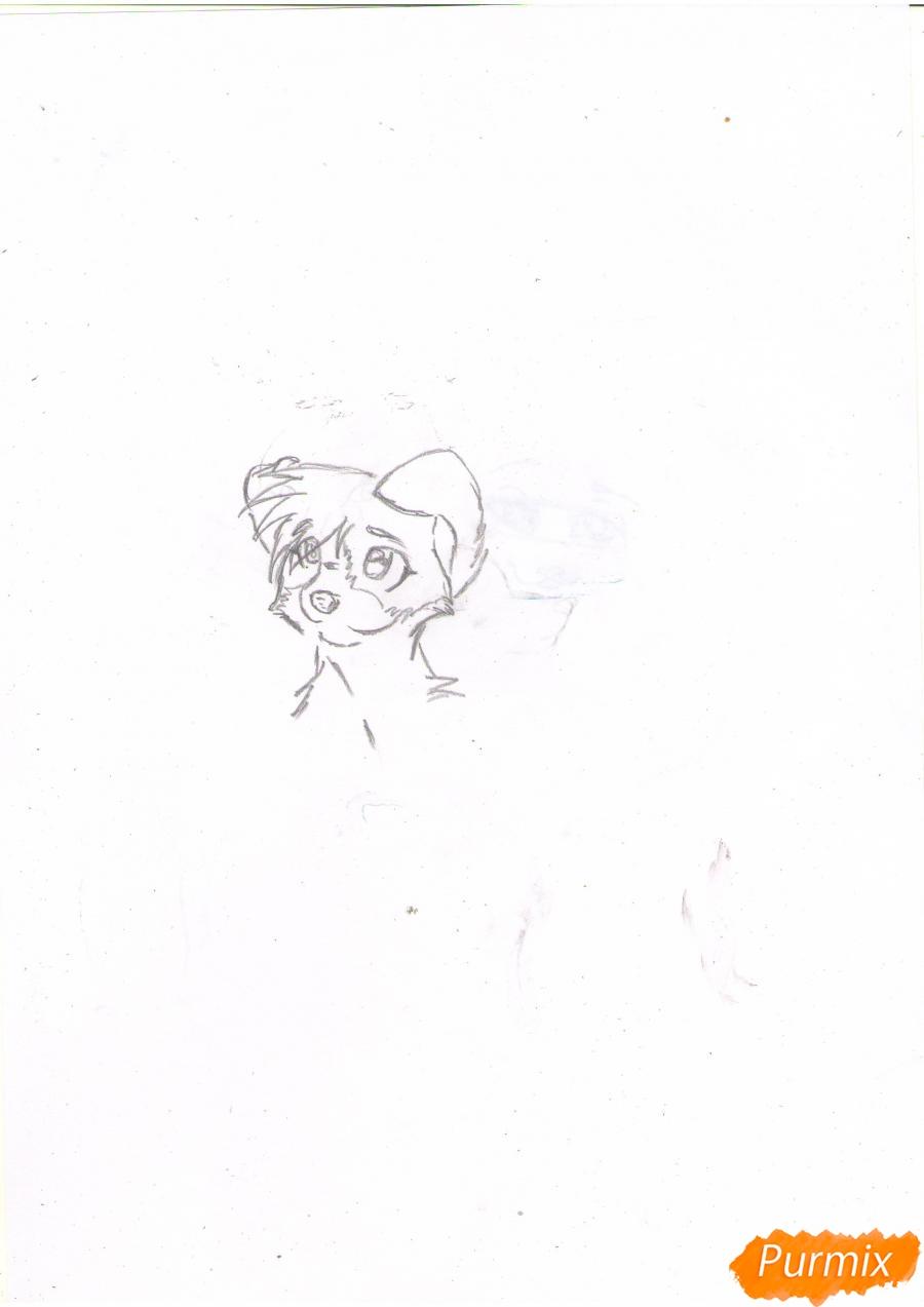 Рисуем щенка в стиле аниме  для начинающих - шаг 2