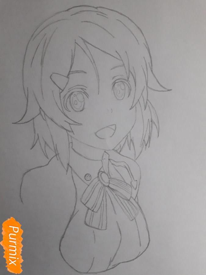 Рисуем Шинозаки Рику(Лизбет) из аниме Мастера меча онлайн карандашами - шаг 4