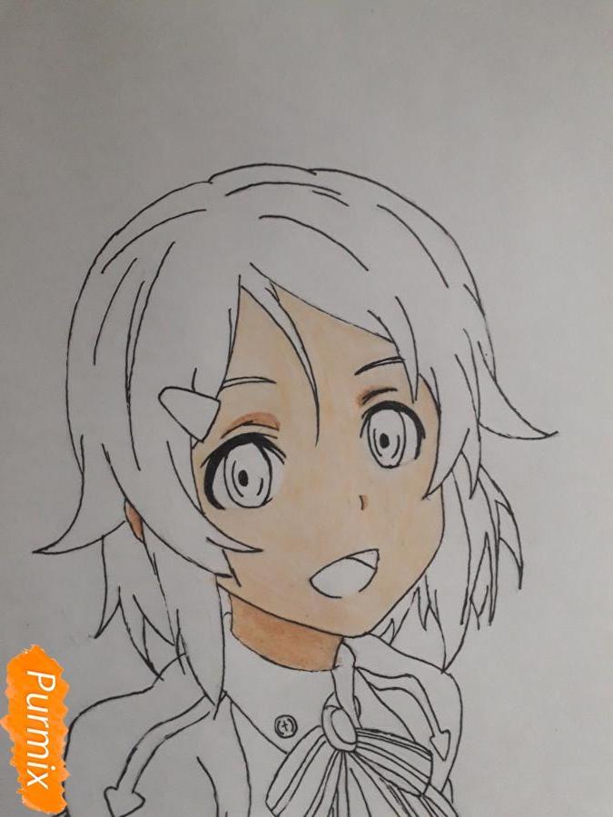 Рисуем Шинозаки Рику(Лизбет) из аниме Мастера меча онлайн карандашами - шаг 7