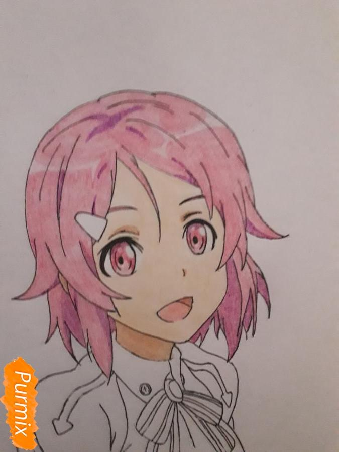 Рисуем Шинозаки Рику(Лизбет) из аниме Мастера меча онлайн карандашами - шаг 9