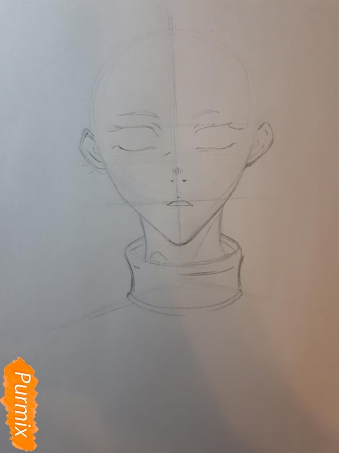 Рисуем Широ из манги Страна чудес смертников - шаг 2