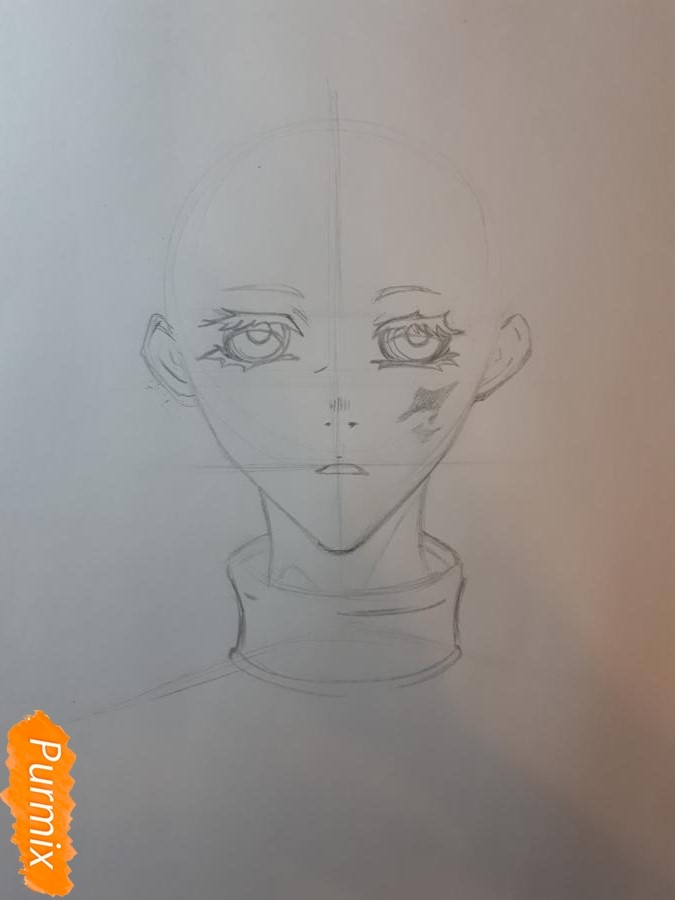 Рисуем Широ из манги Страна чудес смертников - шаг 3