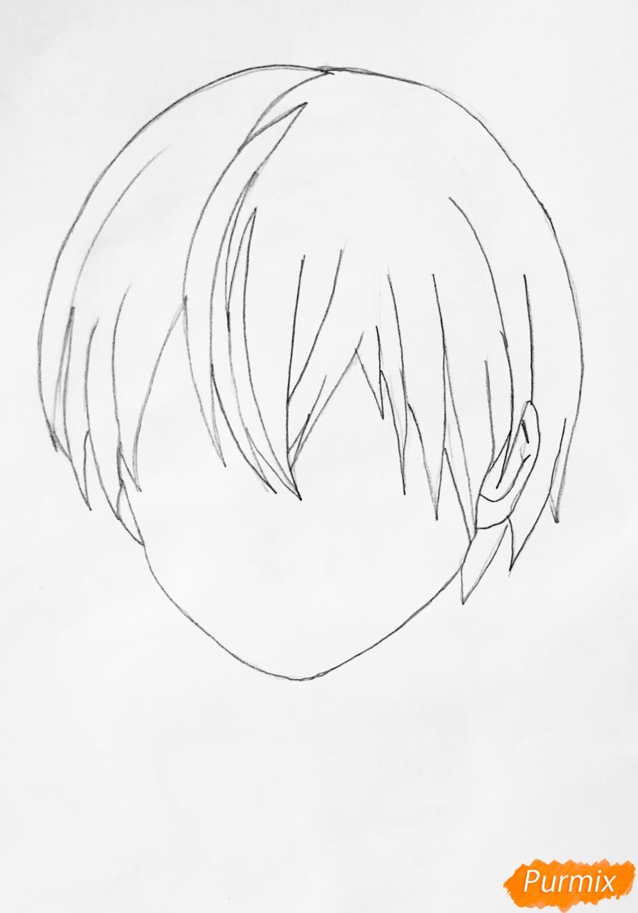 Рисуем Шото Тодороки из аниме моя Геройская Академия карандашами - шаг 1