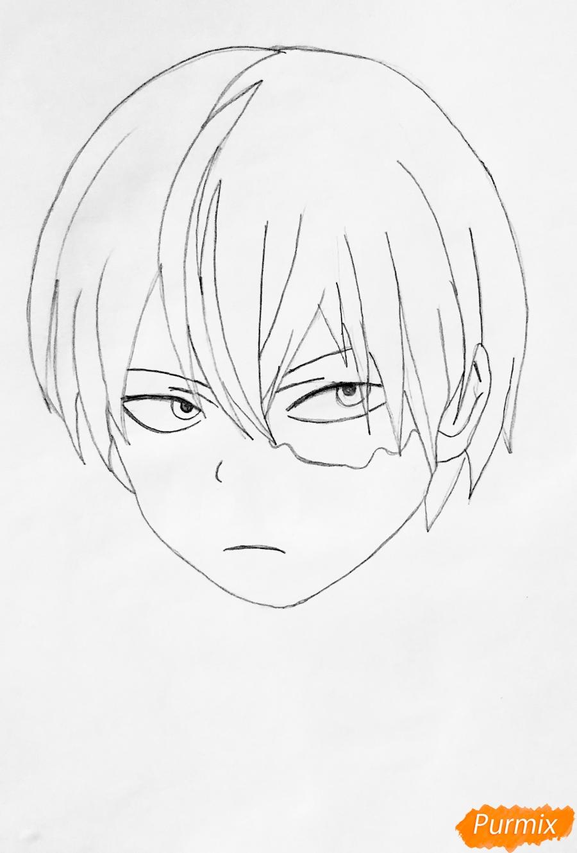 Рисуем Шото Тодороки из аниме моя Геройская Академия карандашами - шаг 2