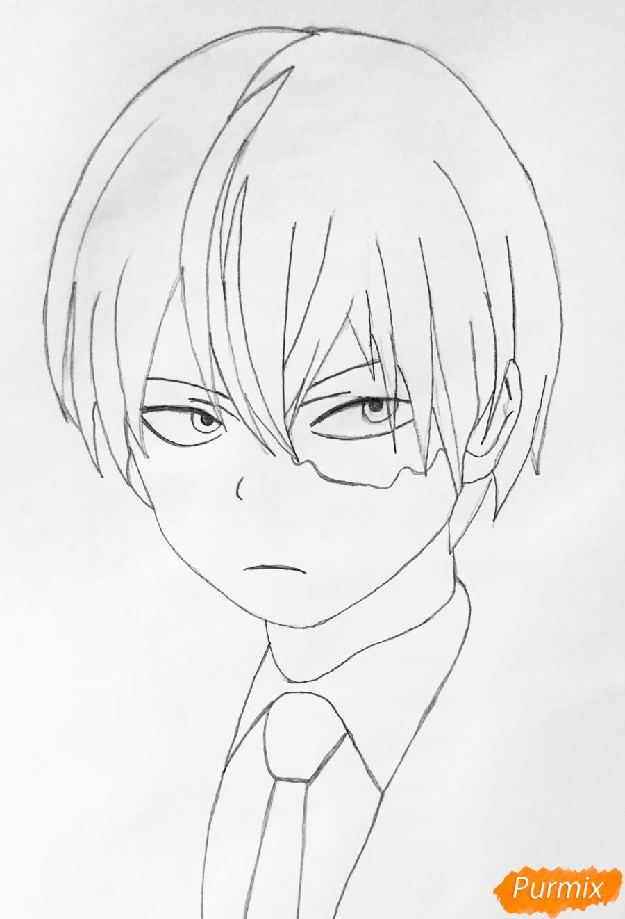 Рисуем Шото Тодороки из аниме моя Геройская Академия карандашами - шаг 3