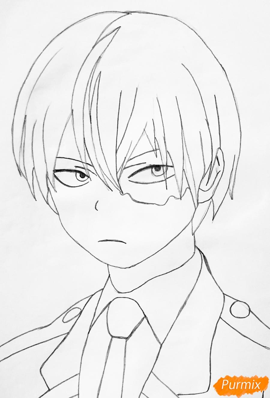Рисуем Шото Тодороки из аниме моя Геройская Академия карандашами - шаг 4