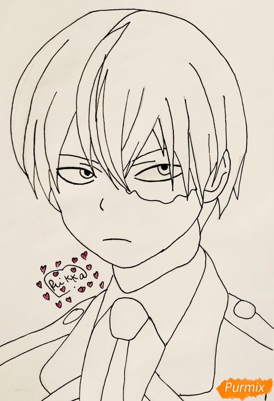 Рисуем Шото Тодороки из аниме моя Геройская Академия карандашами - шаг 5