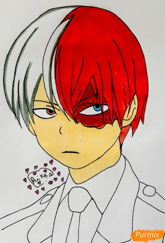 Рисуем Шото Тодороки из аниме моя Геройская Академия карандашами - шаг 7