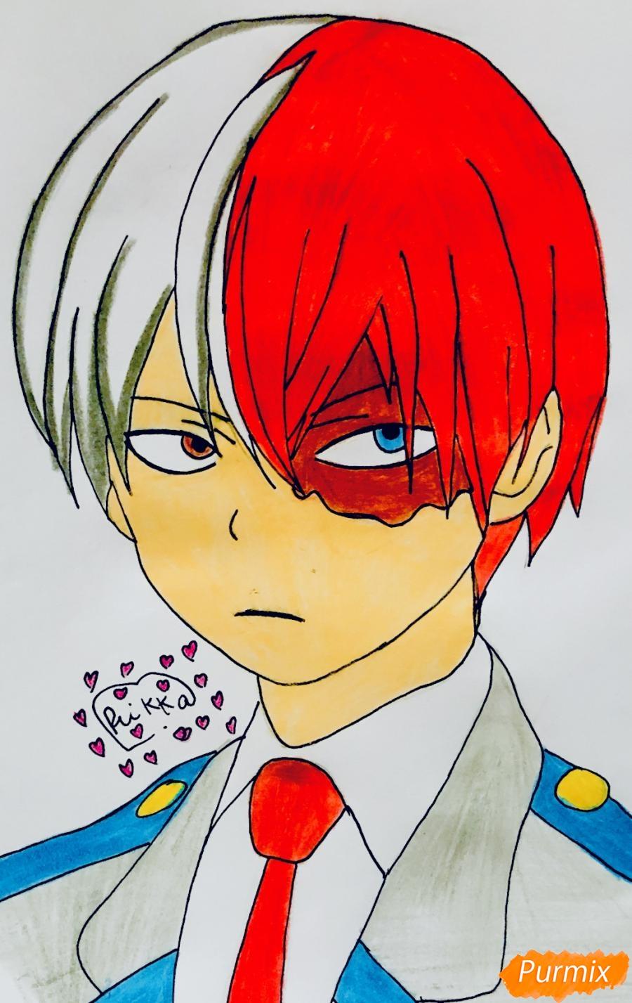Рисуем Шото Тодороки из аниме моя Геройская Академия карандашами - шаг 8