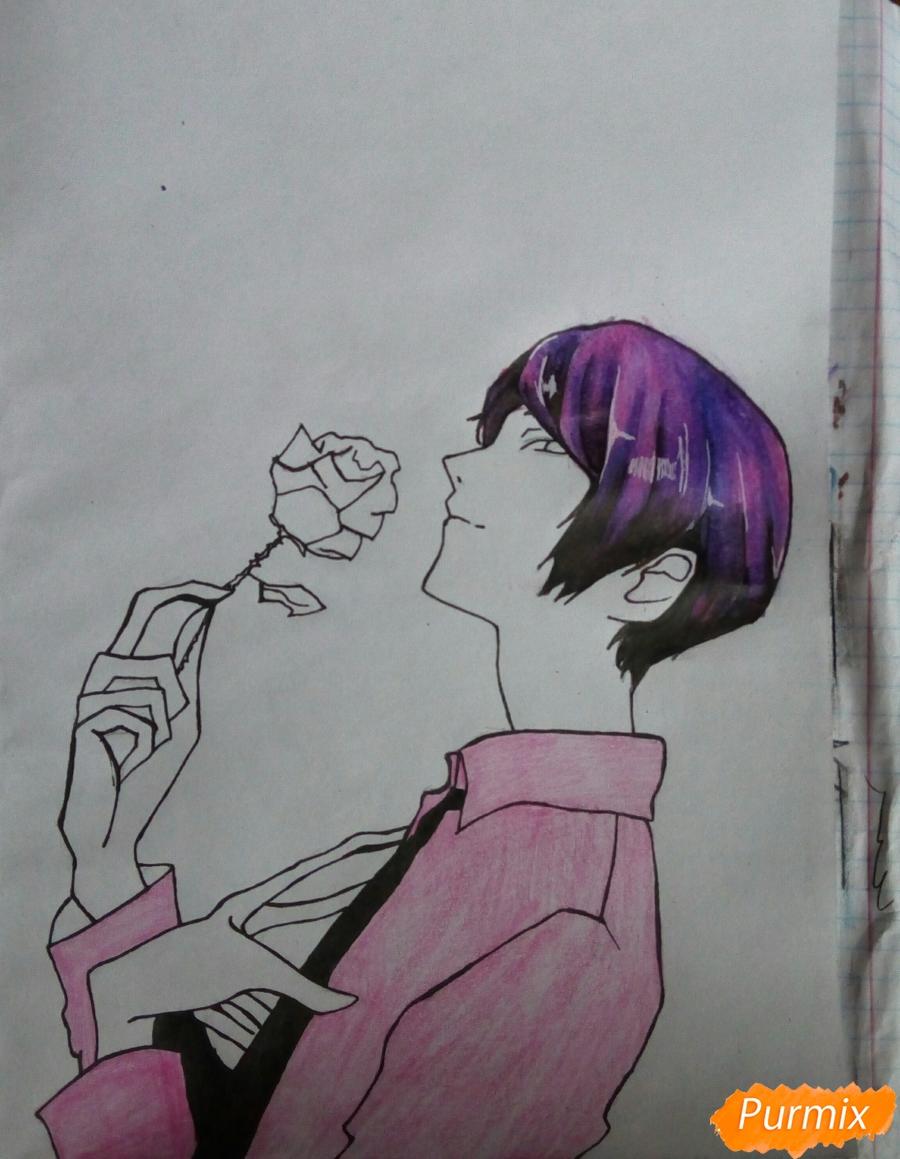 Рисуем Шу Цукияму из аниме Токийский гуль карандашами - шаг 11