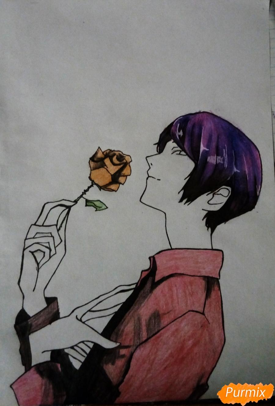 Рисуем Шу Цукияму из аниме Токийский гуль карандашами - шаг 12