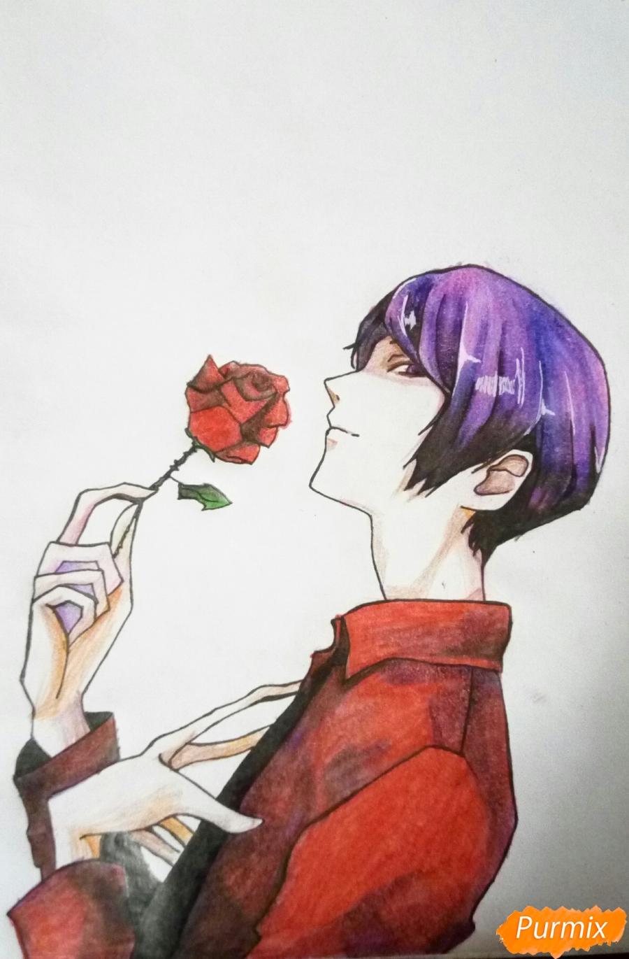 Рисуем Шу Цукияму из аниме Токийский гуль карандашами - шаг 17