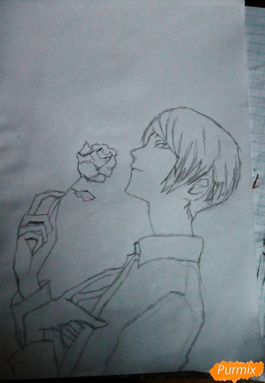 Рисуем Шу Цукияму из аниме Токийский гуль карандашами - шаг 5
