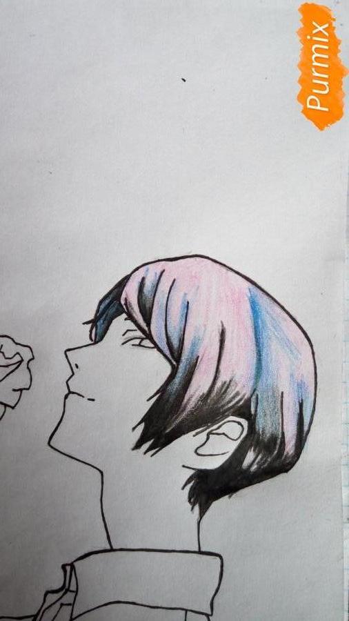 Рисуем Шу Цукияму из аниме Токийский гуль карандашами - шаг 8