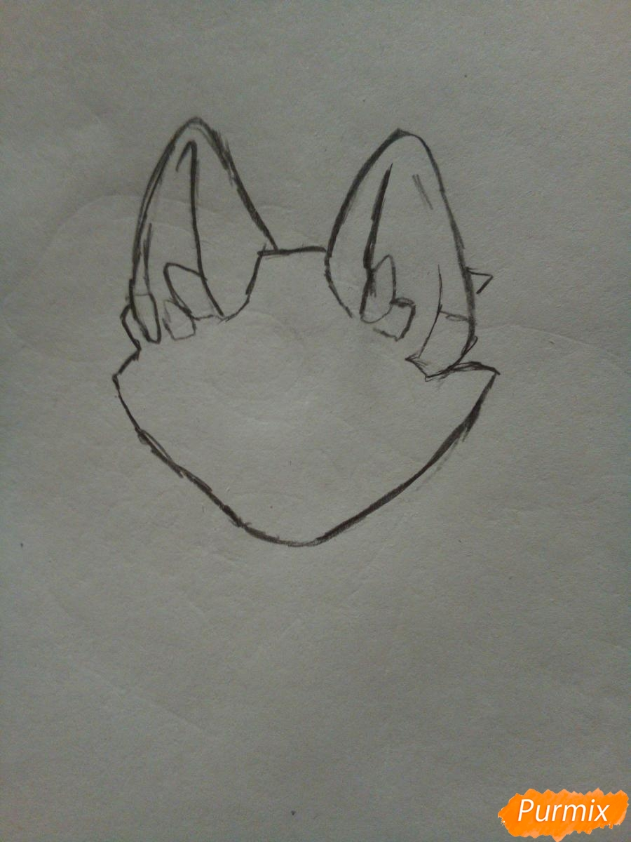 Рисуем сине-красного аниме лисёнка - шаг 1