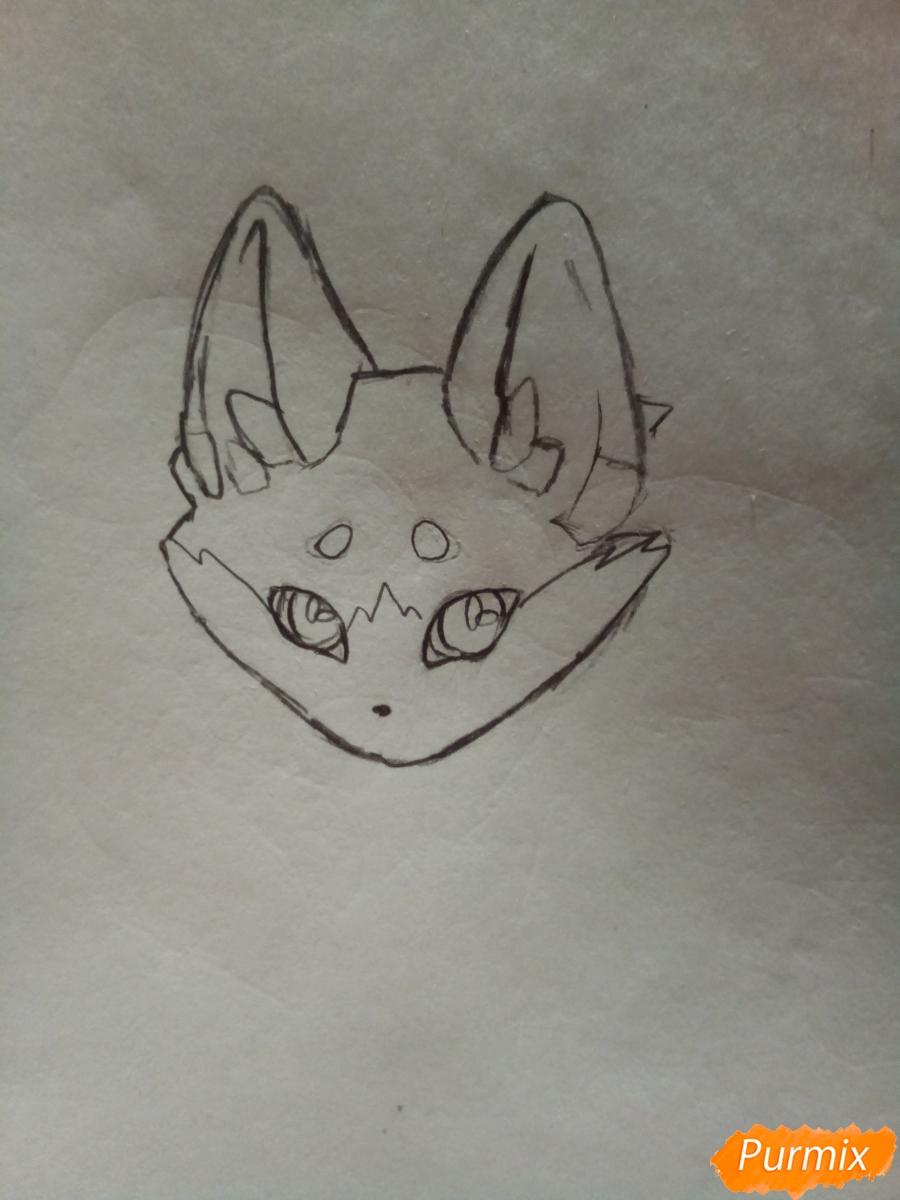 Рисуем сине-красного аниме лисёнка - шаг 2