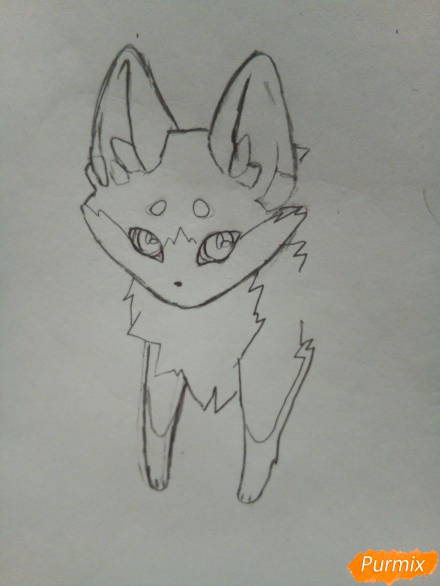 Рисуем сине-красного аниме лисёнка - шаг 3