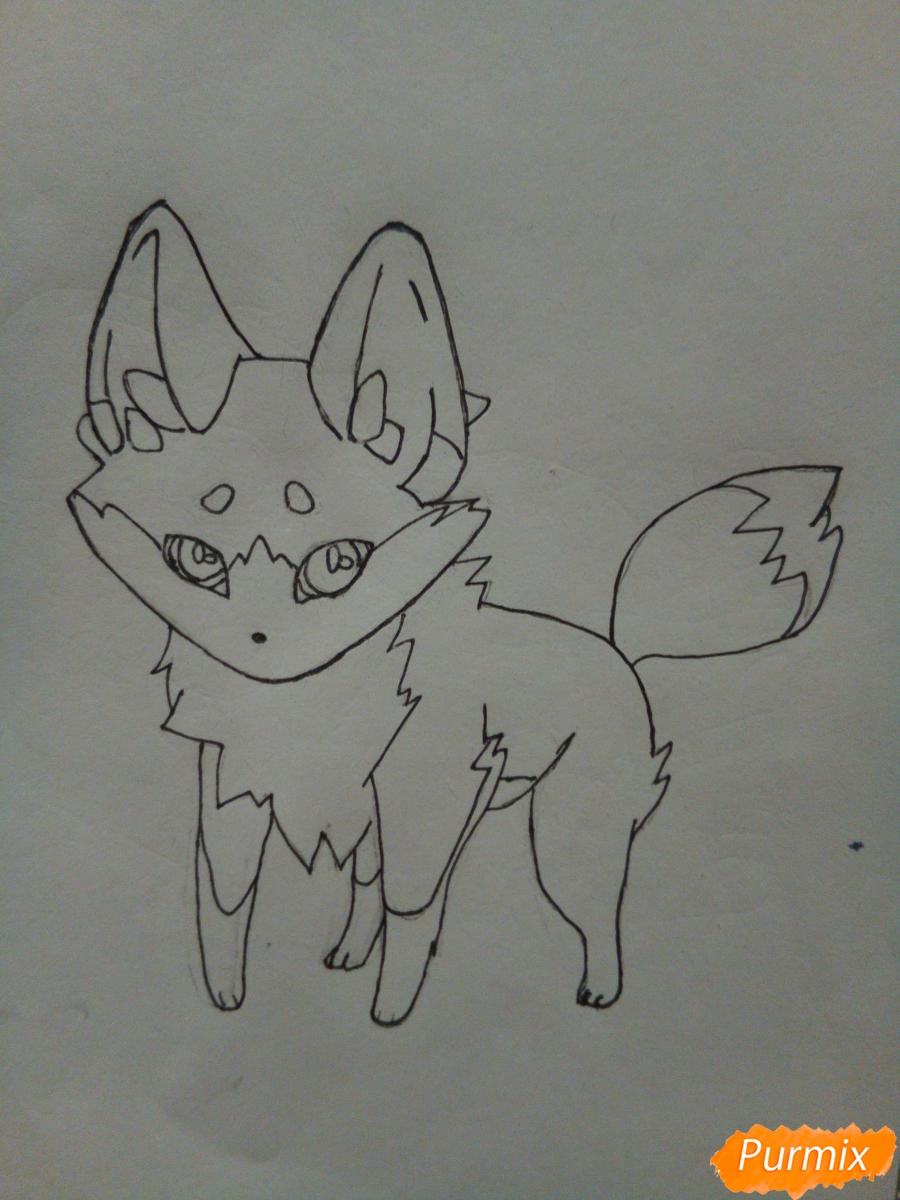 Рисуем сине-красного аниме лисёнка - шаг 5