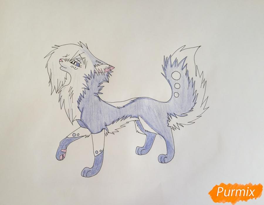 Рисуем синюю аниме кошку - шаг 7
