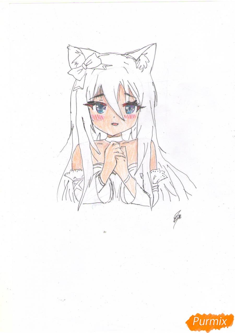 Рисуем собственную аниме девушку Эми карандашами - шаг 7