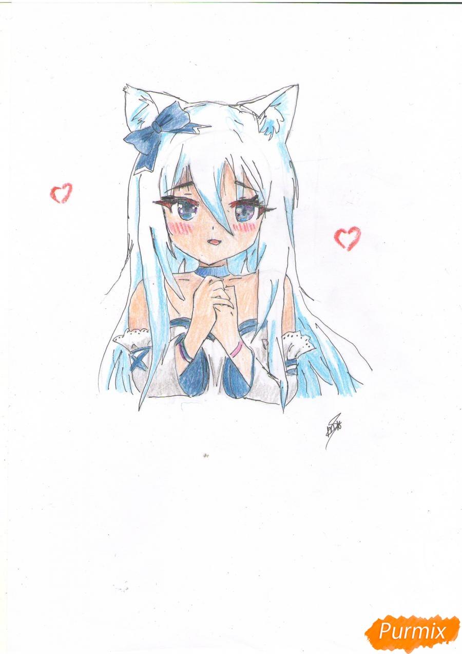 Рисуем собственную аниме девушку Эми карандашами - шаг 9