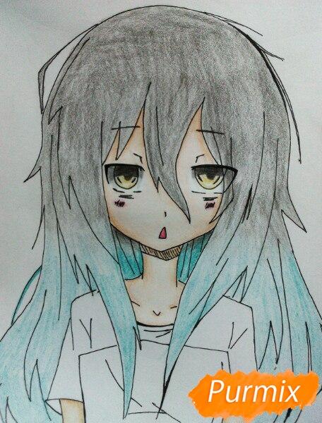 Рисуем сонную аниме девочку цветными карандашами - шаг 10