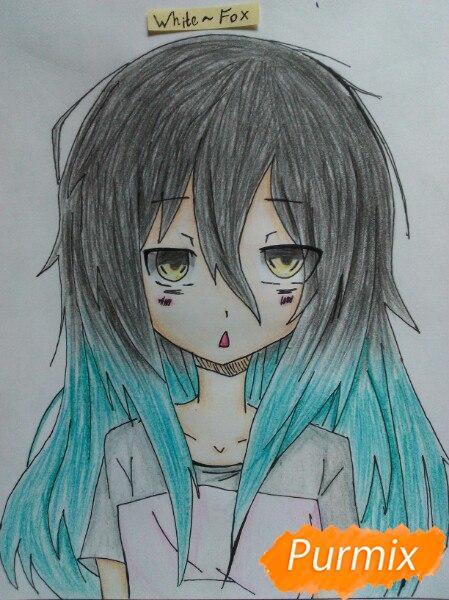 Рисуем сонную аниме девочку цветными карандашами - шаг 12