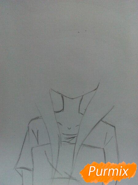 Рисуем сонную аниме девочку цветными карандашами - шаг 2