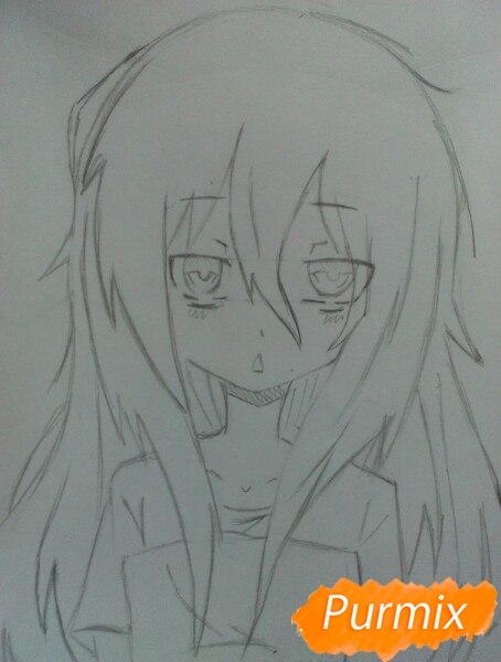 Рисуем сонную аниме девочку цветными карандашами - шаг 6
