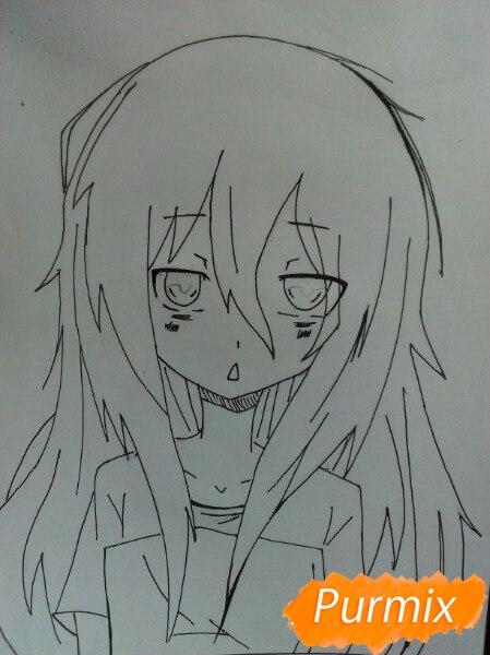 Рисуем сонную аниме девочку цветными карандашами - шаг 7